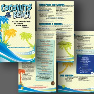 Coconuts on the Beach menu