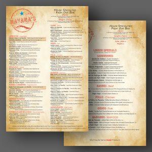 Havana's menu