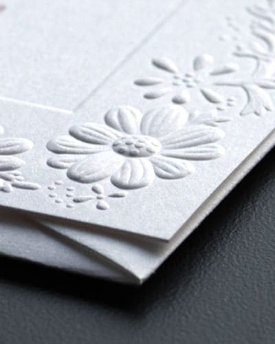 detail shot demonstrating embossing
